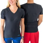 couple of sporty woman man wearing the t shirt in preventive as curative